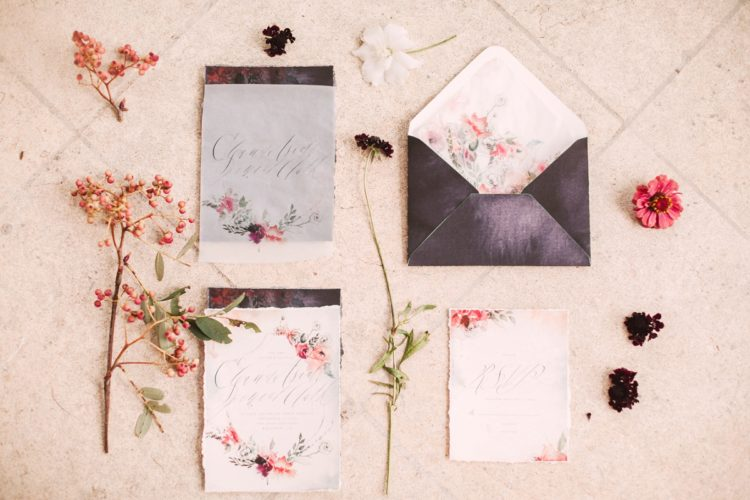 The stationery was wwatercolor and garden inspired