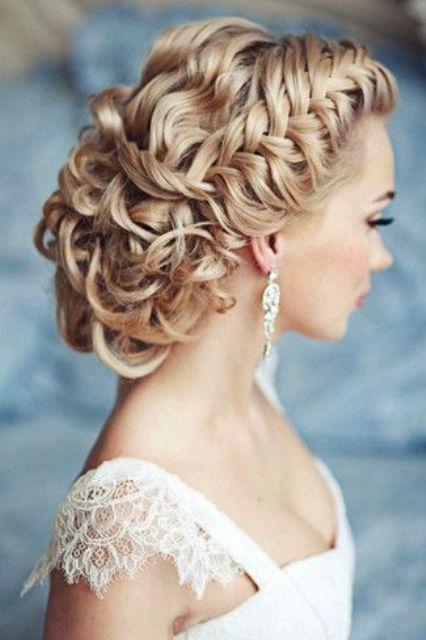 braided and curled updo with cool textures