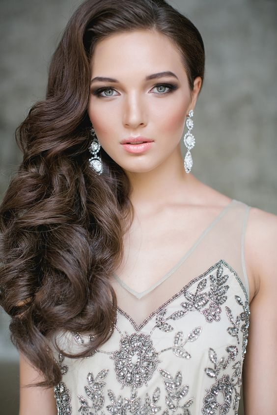 34 elegant side swept hairstyles you should try weddingomania elegant side swept curls nothing else needed junglespirit Choice Image