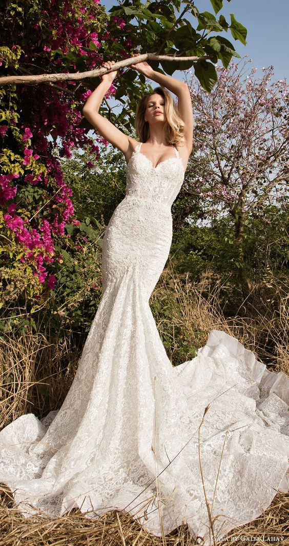 mermaid strap lace wedding gown for a romantic bride