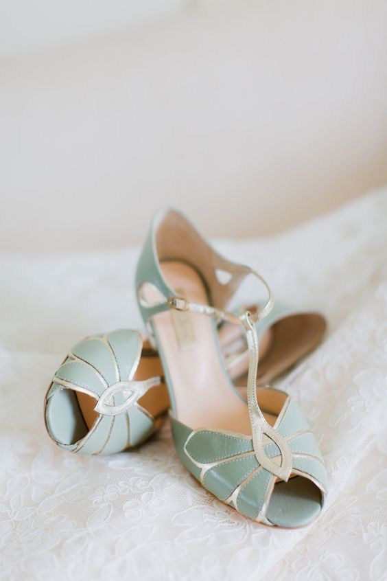 vintage mint and silver wedding shoes