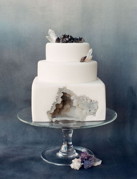 winter geode cake with grey and black rocks