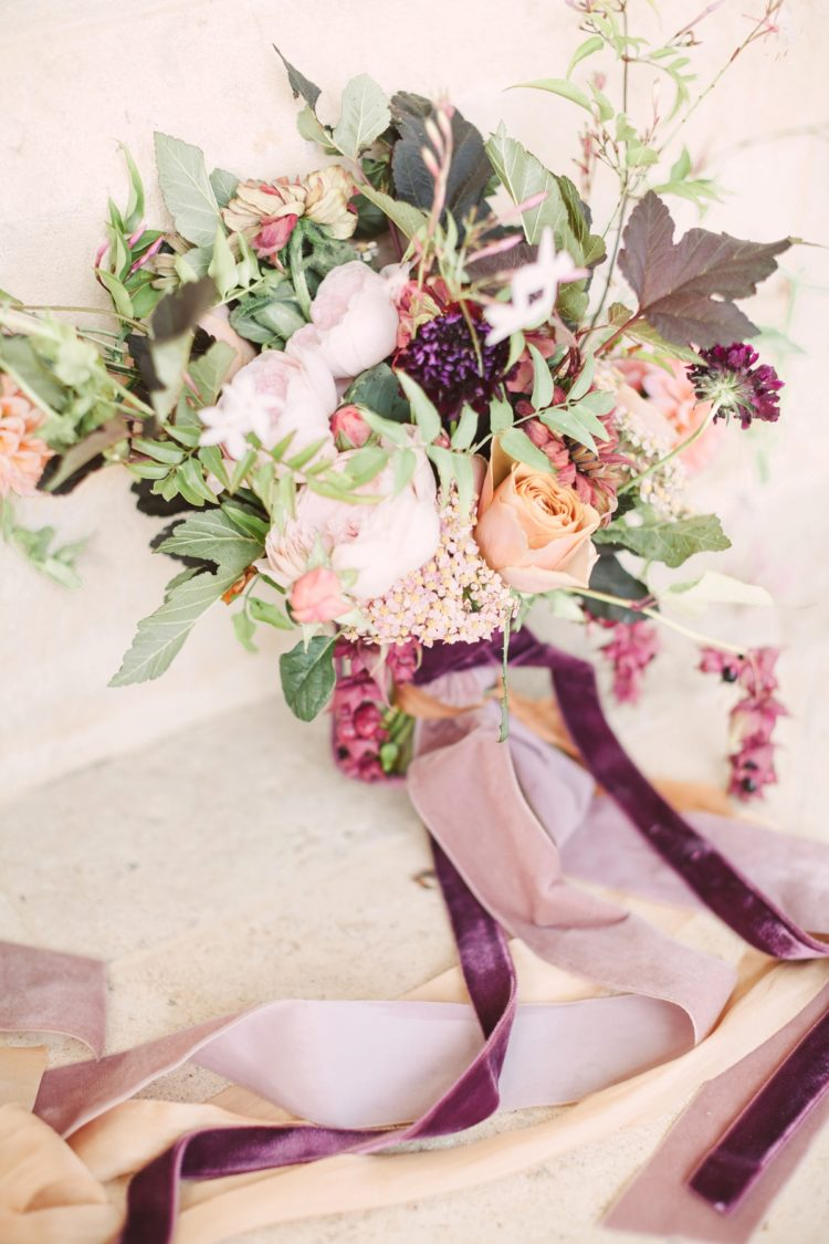 The bridal bouquet was a bit messy and textural, with marsala velvet ribbons