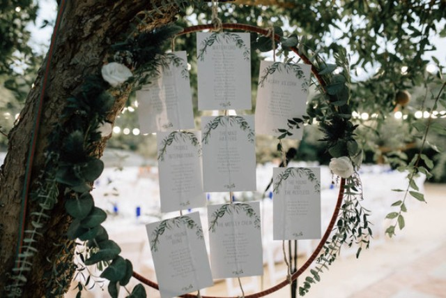 The seating chart was made on sheets oof paper attached to an oversized embroidery hoop