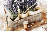 08 a crate with lavender in jars is a great rustic centerpiece