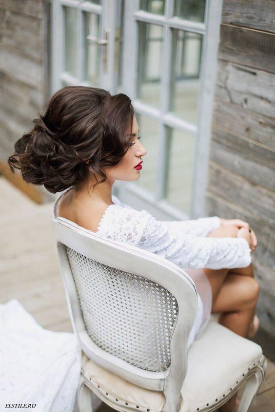 chic curled updo with side bangs