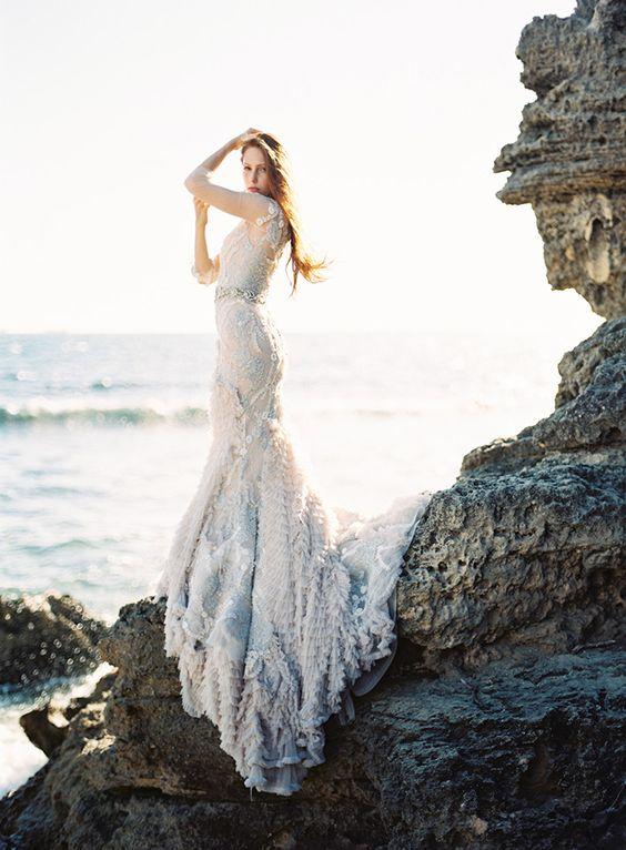 light blue dress reminding of the sea foam