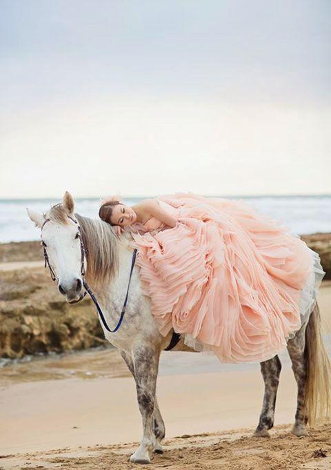 peach ruffle wedding dress for romantic brides