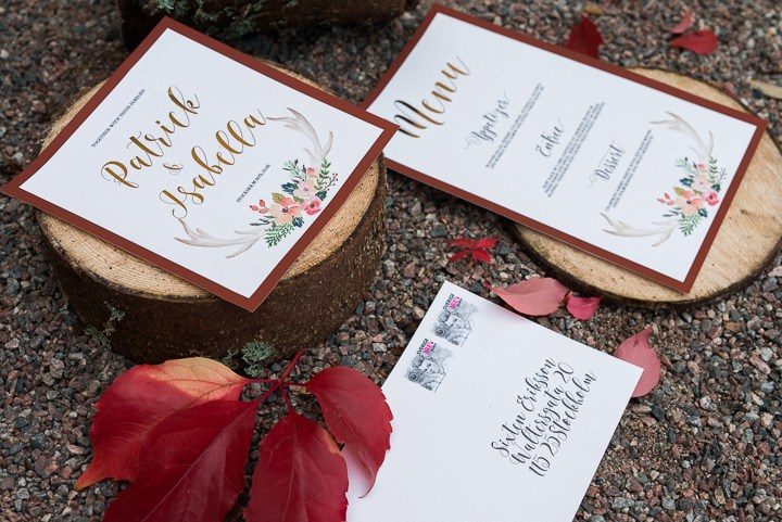 The staionery was also fall-inspired with gold calligraphy