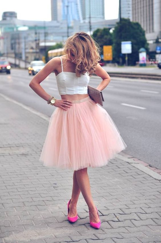a blush tulle skirt, a white strap top and fuchsia shoes