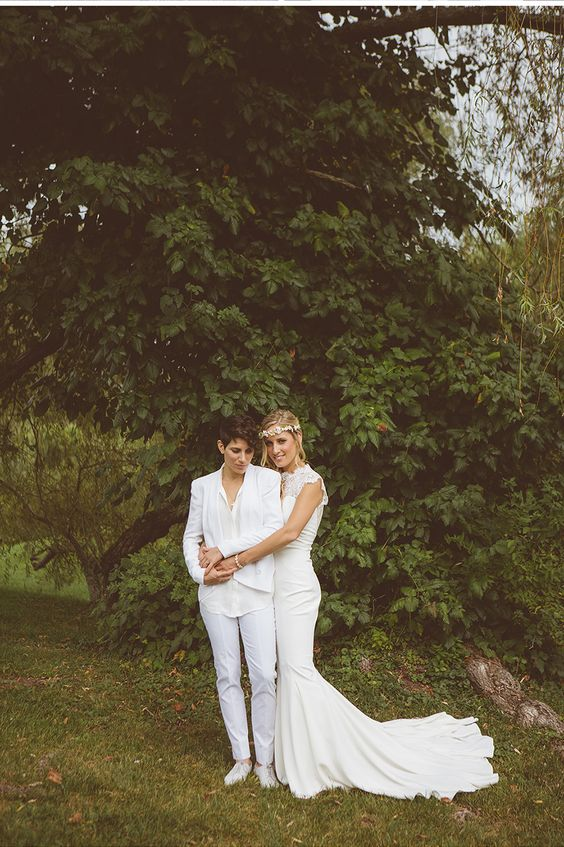 all-white bridal pantsuit with sneakers