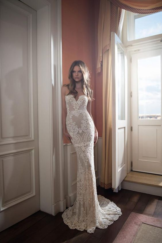 full lace backless dress with a mermaid silhouette