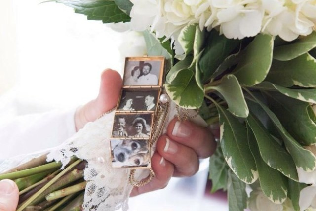 put photos of loved ones you've lost in a locket and then wrap it around the bouquet