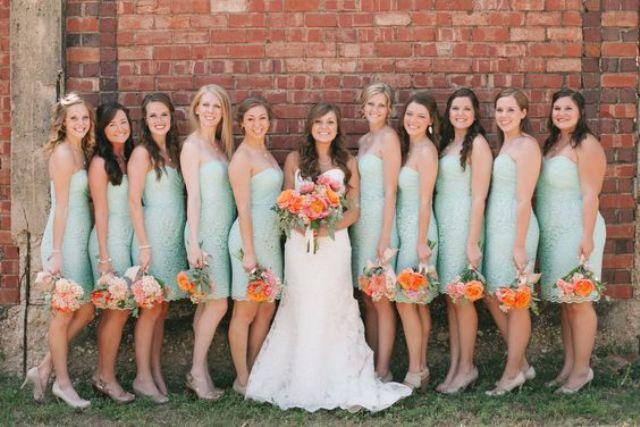 strapless mint bridesmaids
