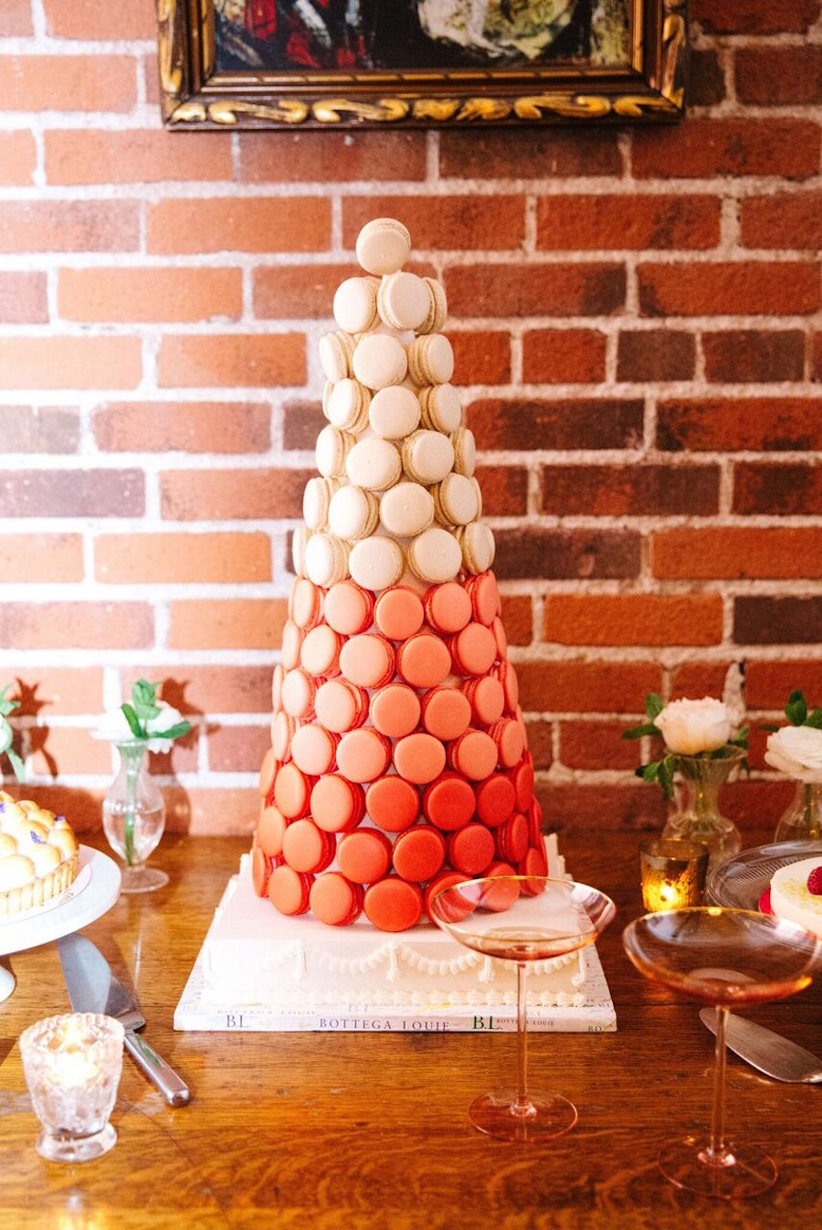 Instead of a wedding cake the guys took an ombre macaron tower to add even more French chic