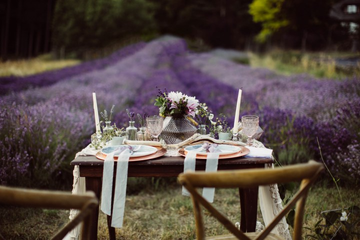 The setitng reminded of floral fields in Provence, though the shoot took place in Canada