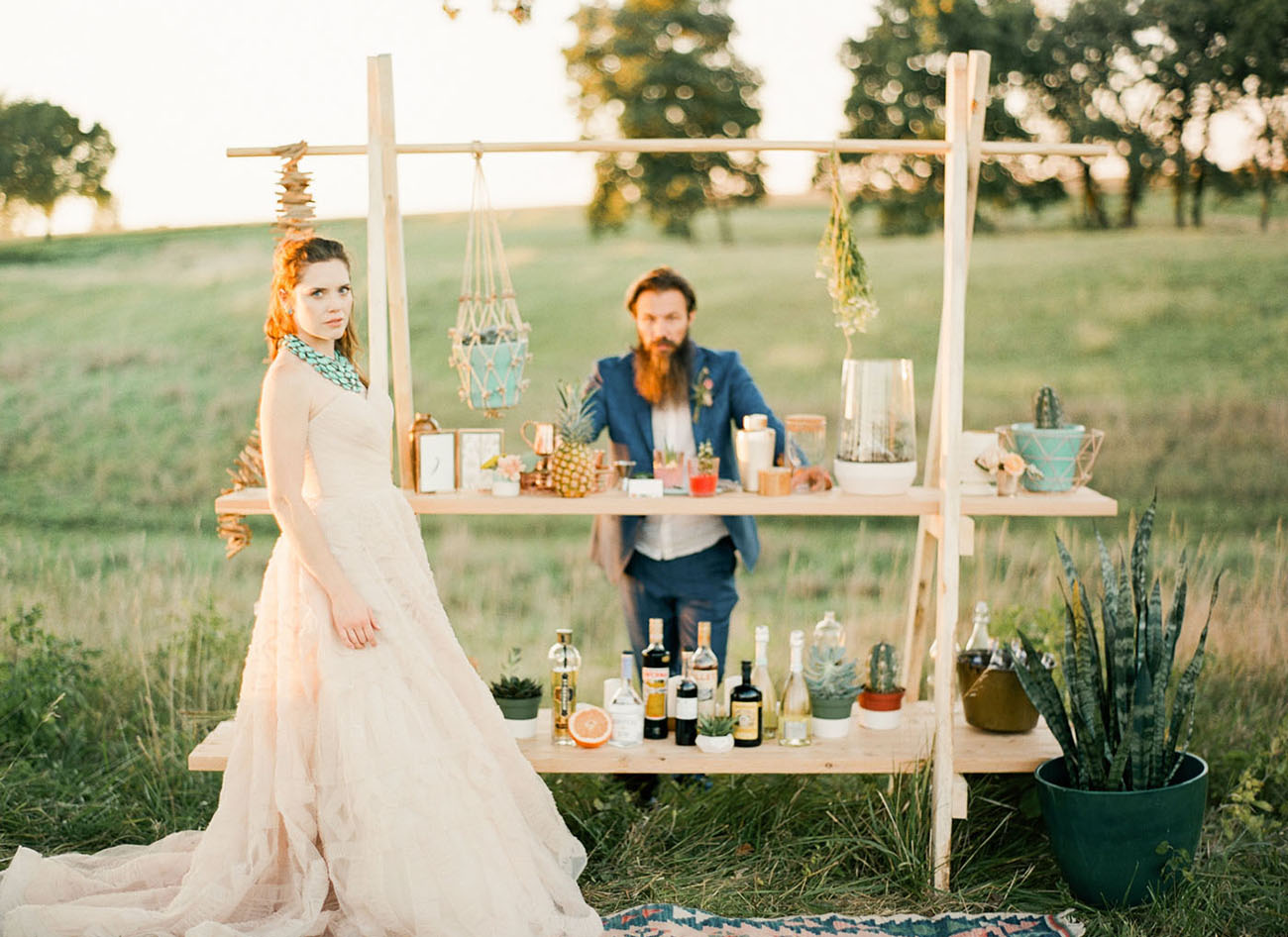 The wedding bar was created by Adan, it was simple, chic and boho