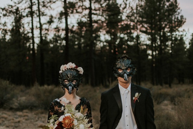 This shot with bird masks looks very mysterious and reminds of Edgar Poe's stories