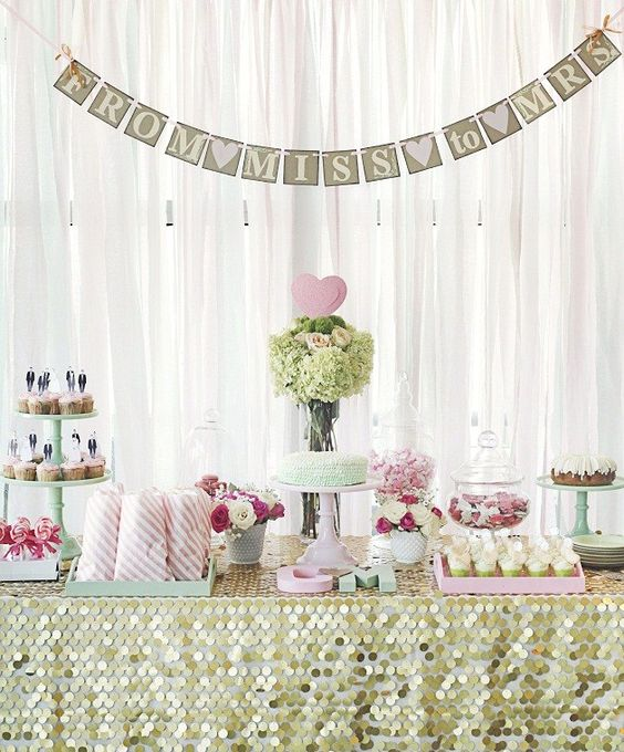 light green and pink dessert table