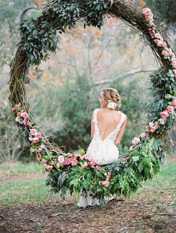 oversized greenery and flower wreath for garden weddings