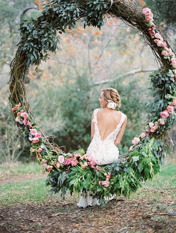 oversized greenery and flower wreath for garden weddings