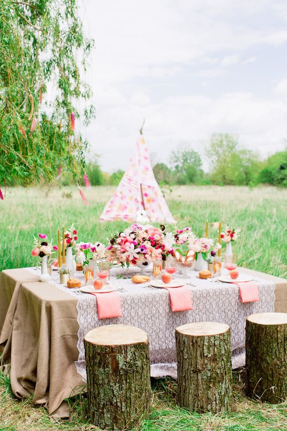 pastel and colorful boho chic bridal shower with a rustic feel