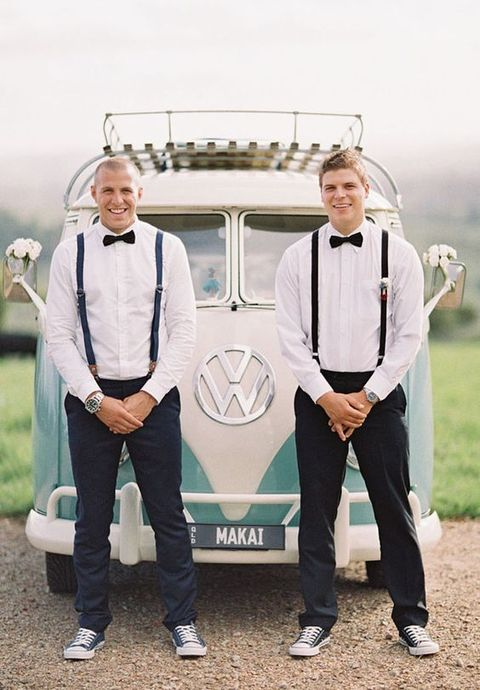 relaxed same outfits with dark pants, suspenders, sneakers and bow ties