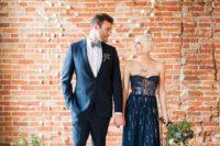 10 strapless navy gold embellished wedding dress