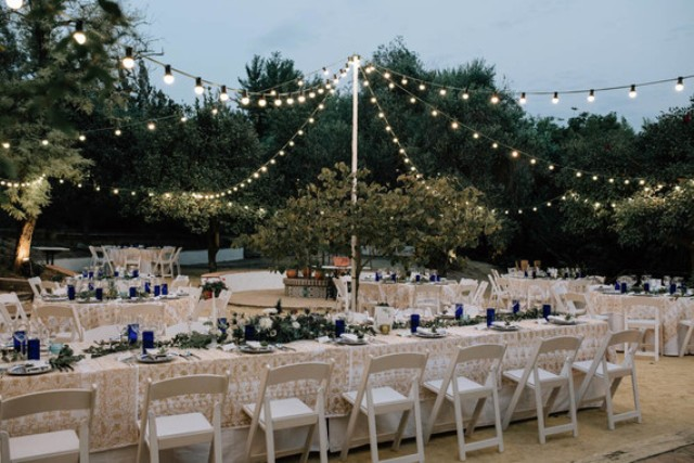 The venue was a homey one with lights all over, eucalyptus and greenery