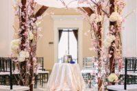 11 cherry blossom and ivory hydrangeas chuppah for a wedding