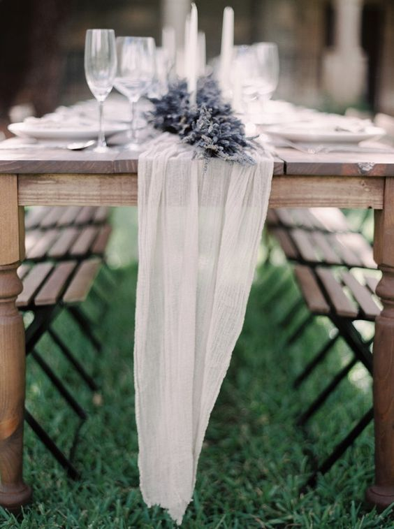 ethereal wwhite fabric with lavender table runner