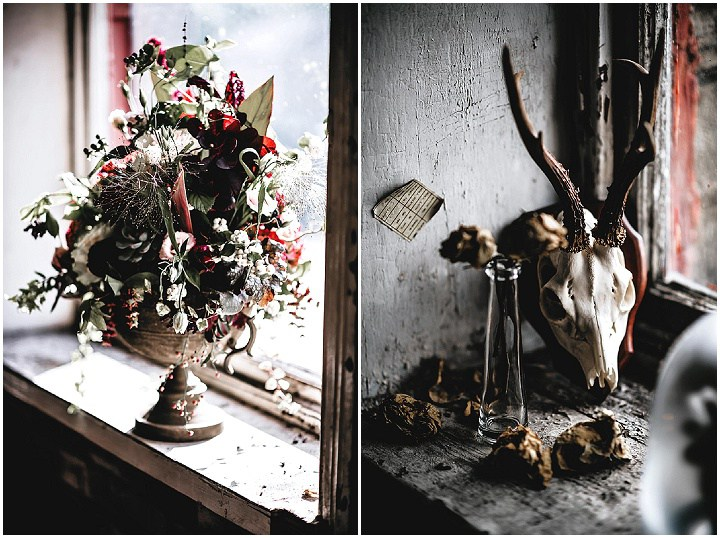 Dark boho florals and animal skulls are right what you need to make your wedding sophisticated and moody