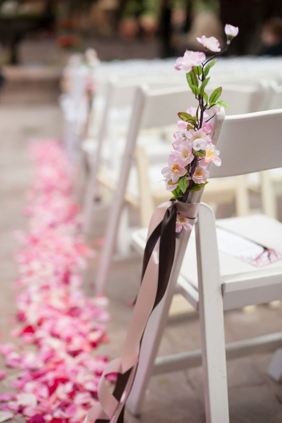 Japanese cherry blossom lined wedding aisle is a gorgeous idea for spring