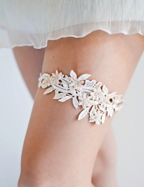 a lace garter made of mom's dress