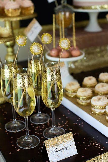 glitter champagne glasses and glitter stirrers
