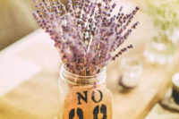 12 lavender in a jar with a burlap table number