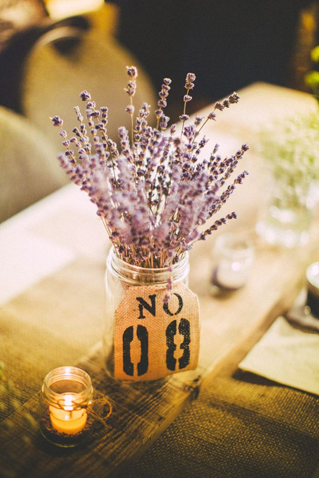 lavender in a jar with a burlap table number