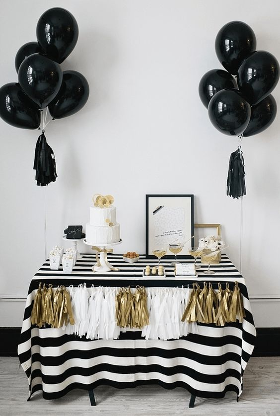 black, white and gold are a perfect color scheme for a New Year bridal shower