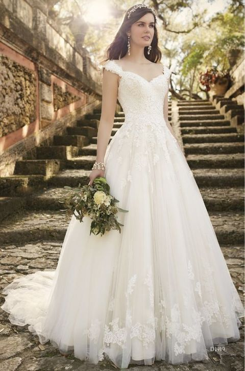 ivory lace dress with straps looks princess-like and classic