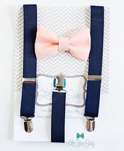 navy denim suspenders and a blush bow tie