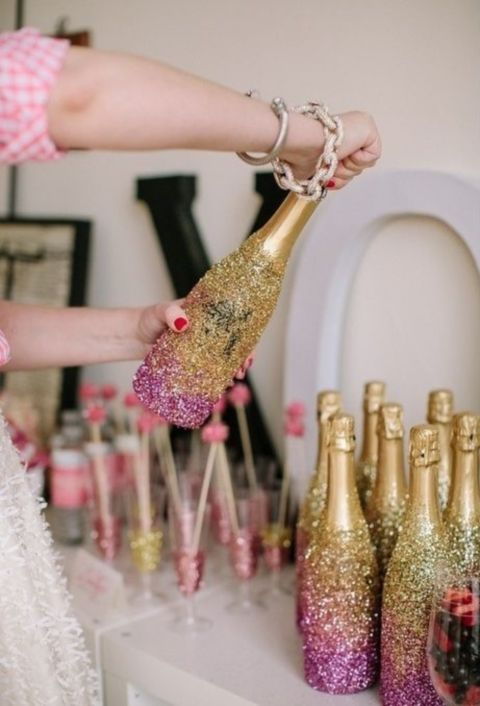ombre glam champagne bottles are awesome for the party and as favors