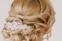 13 twisted and curled updo with a rhinestone headpiece