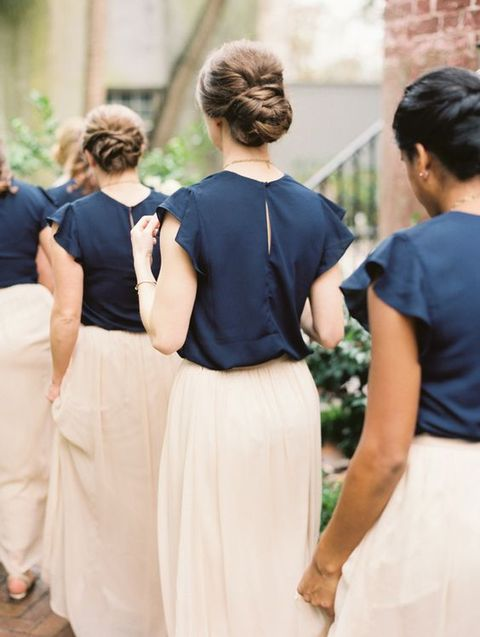 bridesmaids' separates with blush skirts and navy tops