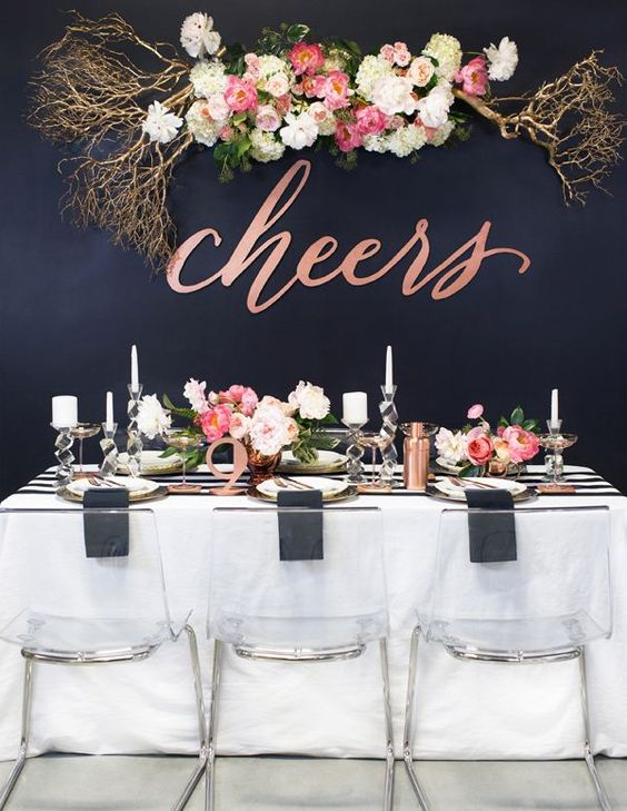copper and black New Year bridal shower table