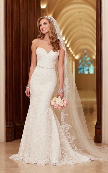lace over rich dolce satin slim A-line bridal gown with a chapel train