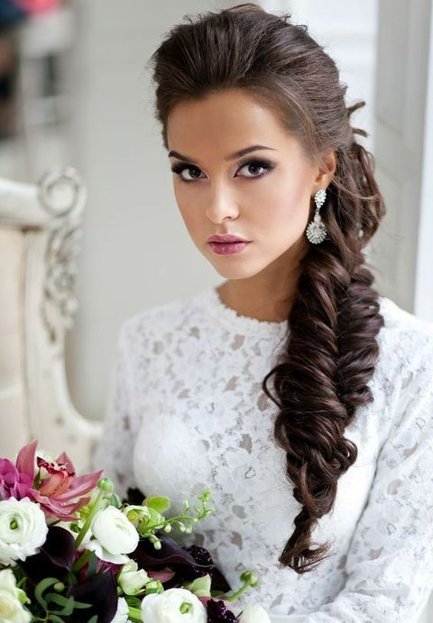 oversized messy side swept braid