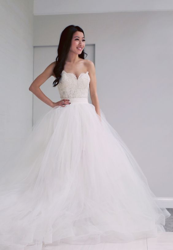 a lace bodice and a tulle skirt