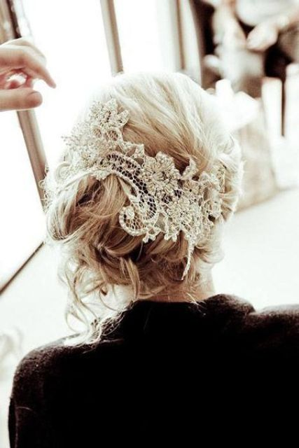 lace from your mother's wedding dress makes a beautiful head piece to represent your something old