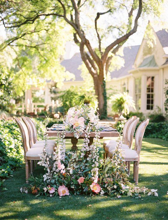 lush floral table decor for a garden wedding