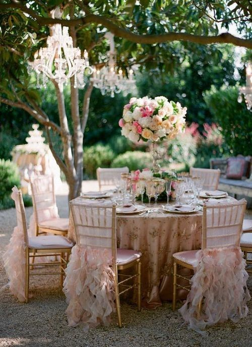 ruffle chair skirts and exquisite chandeliers are right what you need for a glam party